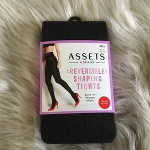 SPANX Reversible Tights Size 1 95-125 lbs Blk/Gray